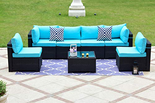 Gotland Outdoor Patio Furniture Set 7 Pieces Sectional Rattan Sofa Set Manual Wicker Patio Conversation Set with A Tempered Class Table and 6 Seat Cushions (Blue)