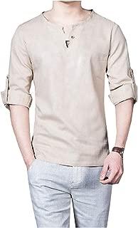 Energy Mens Regular-Fit V-Neck Retro Long Sleeve Cotton Linen Roll-up T-Shirt Top