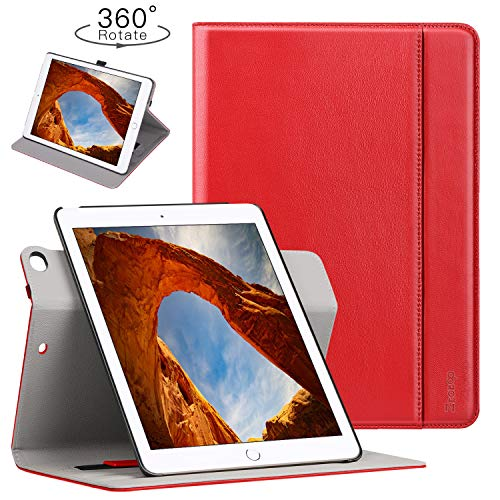Ztotop Case for iPad 9.7 2018/2017-360 Degree Rotating Stand/Genuine Leather Cover with Auto Wake/Sleep, Pencil Holder,Card Pocket for New iPad 9.7'' 5th/6th Gen, iPad Air 2/iPad Air,Red