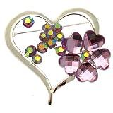 Acosta broches - violeta morado con cuentas de y diseño de flores broche con forma de corazón decorativo con flores de cristal - (tono plateado) - caja de regalo