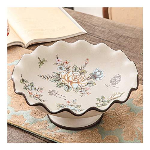 jinyi2016SHOP Frutero Creative Luxury Europy Style Fruit Bowl Home Sala de Estar Placa de Fruta Placa de Fruta de cerámica Mesa de té Decoración Cestas para Frutas (Color : F)