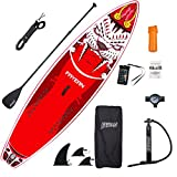 FAYEAN Inflatable Stand Up Paddle Board 10.5' x 33''x 6'' Thick Round Board Includes Pump, Paddle, Backpack, Coil Leash Waterproof Case Tiger (Red)
