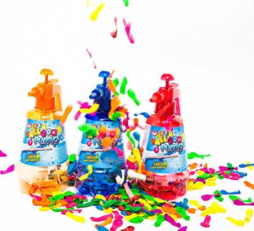 esto24® Wasserbomben Pumpe inkl. 100 Wasserballons und Einfüllhilfe für Wasserbomben 1,5 Liter Inhalt Produktname