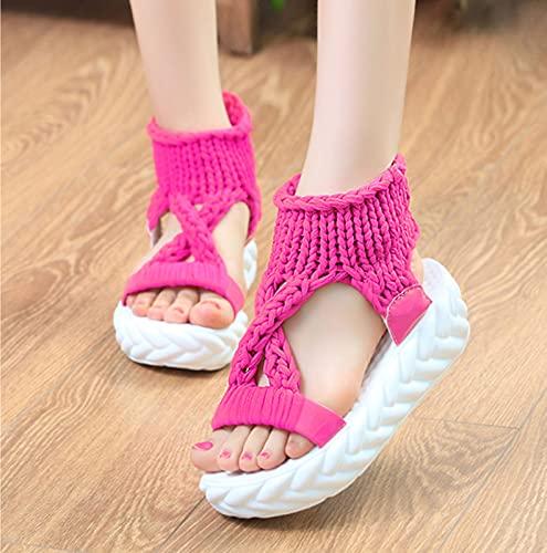 HYTGF Sandalias Mujer Plataforma Zapatos de Mujer de Plataforma de Todo Fósforo de Moda Sandalias de Mujer en Tejido Elástico Tejido,002,41EU