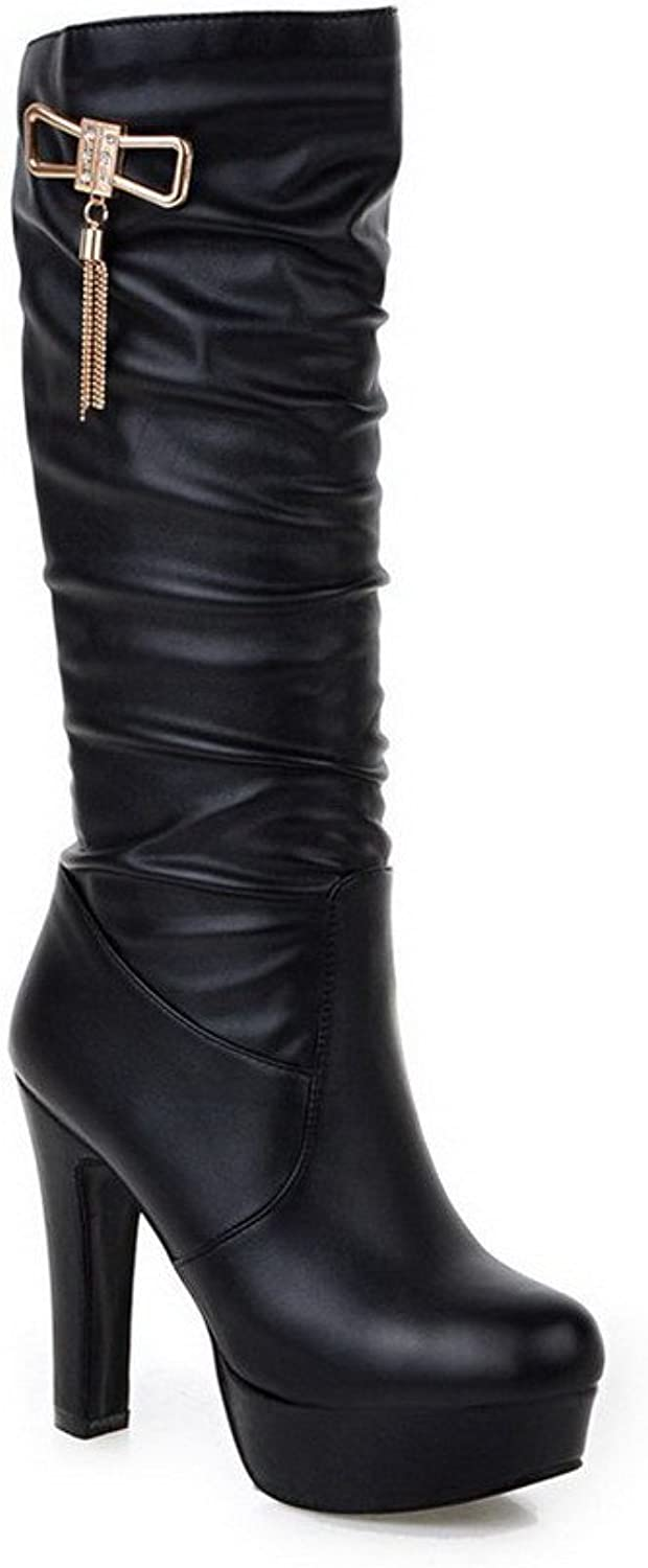 WeenFashion Women's Round Closed Toe Mid Top High Heels Solid Pu Boots