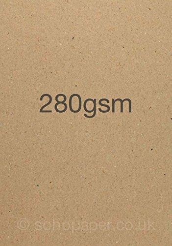 Soho Paper Products, Fogli A4 in Carta Kraft Riciclata A4, 280 gsm, 50 Fogli