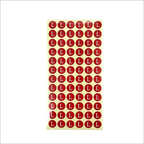 サイズシール L サイズ 業務用 大きさ=直径1.4cm 赤地に白文字 1シートに72枚のシールが15シート(1080枚分)入り 仕分け 梱包 ラベル 服 表示 アパレル サイズ表示 size フリマ ラクマ イベント アパレル 店舗出店 在庫管理 ディス