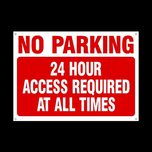 No Parking 24 Hour access required at all times 3mm Metal Sign with 4 Pre-Drilled Holes - Private Property, Parking, Clamping, Disabled, Driveway, Do not block (MISC29)