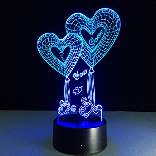ATD Double Heart Balloon I Love You 3D Optical Illusion Touch Botton 7 Color Changing LED Night Light Desk Lamp,Romantic Gift for Lover,Wife,Boyfriend or Girlfriend