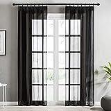 Topfinel Voile Vorhänge mit Kräuselband in Leinen-Optik Transparent für Wohnzimmer Schlafzimmer Fenster Einfarbige Gardinen Schwarz 2er Set je140x215cm (BxH)