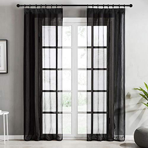 Topfinel Transparente Visillos da Panels Modernas Visillos para Ventanas Cortinas Dormitorio con Plisado de Lápiz 2 Piezas 140x215cm Negro