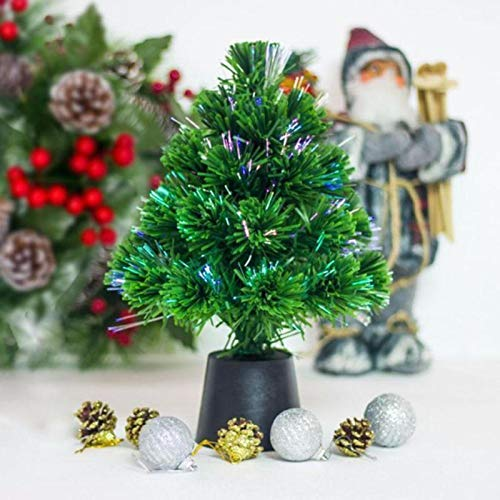 HOMION 1ft Green Christmas tree x-mas tree Fiber Optic Color changing multi colour led lights with stand free standing xmas (Choose Your size from Variation menu BELOW) (30CM (1 FOOT))