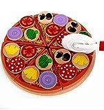 Luccase Holz Pizza Spielzeug Essen Kochen Simulation Geschirr Kinderküche Täuschen Geschenk für Jungen und Mädchen, 21.5cm x 21.5cm x 5.2cm