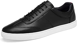 XUJW-Shoes, Fashion Sneaker for Men Sports Shoes Lace Up Style OX Leather Simple Solid Color Comfortable Durable Comfortable Walking Shopping Foot Feeling (Color : Black, Size : 8.5 UK)