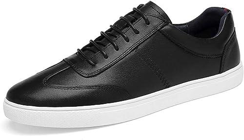 Turnschuhe für Herren Sportschuhe Schnürschuhe OX Leather Simple Solid Farbe Comfortable Foot Feeling schuhe,Grille Schuhe (Farbe   Schwarz Größe   47 EU)
