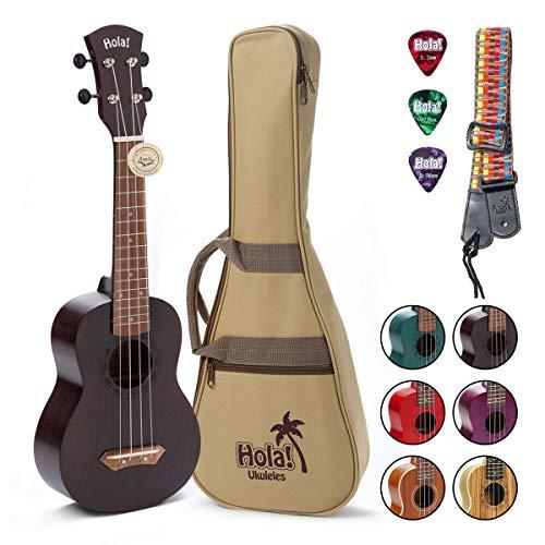 Hola! Music HM-121MG+ Deluxe Mahogany Soprano Ukulele Bundle with Aquila Strings, Padded Gig Bag, Strap and Picks,...