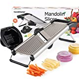 Ourokhome Mandoline Slicer Adjustable Stainless Steel Julienne Slicer Cutter French Fry Cutter Potato Chips for Vegetables, Onion, Tomato, Cabbage, Fruit