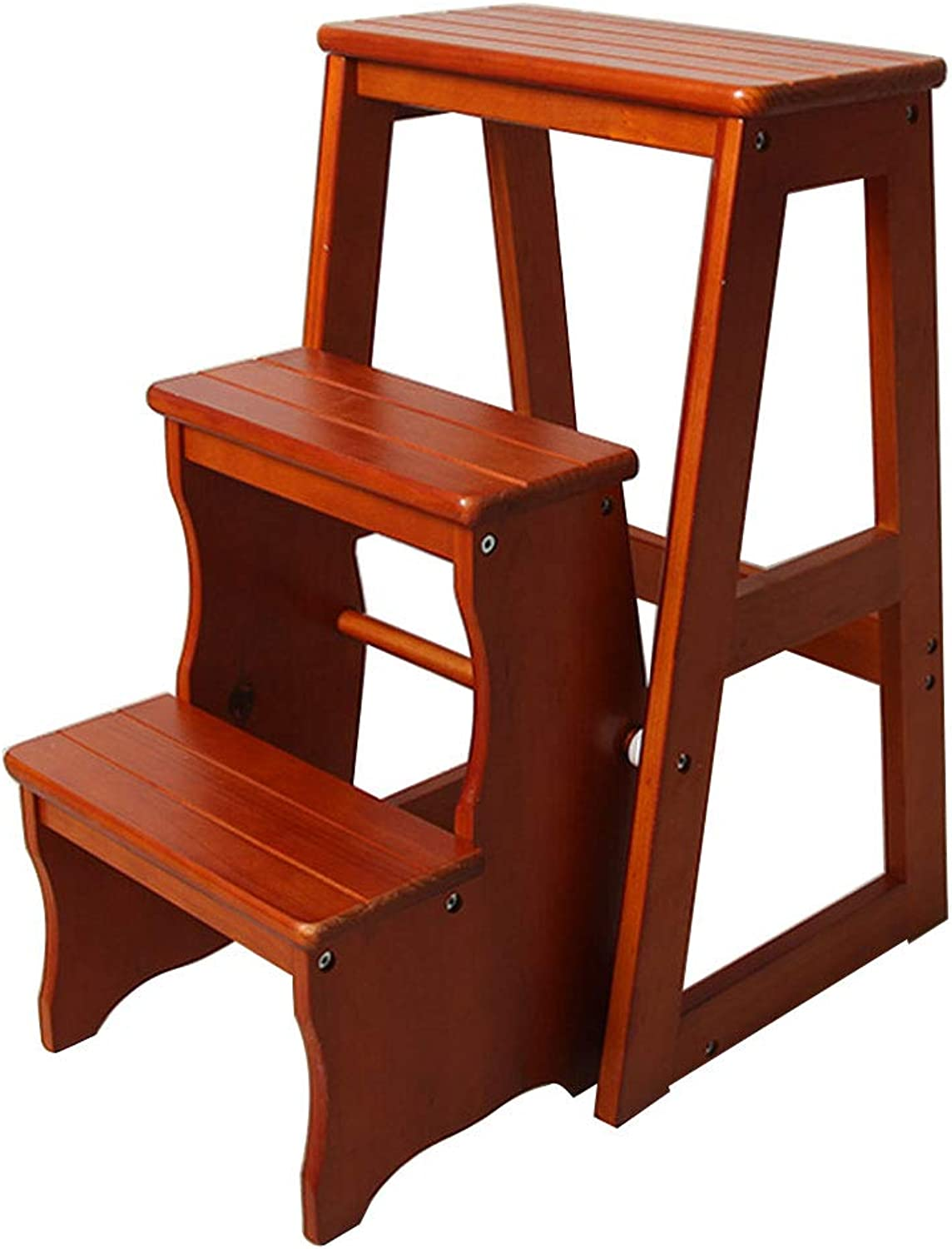 Step Stool Solid Wood Folding Chair 3 Step Stair Chair Portable Household Ladder Light Garden Tools Max Load 150KG (color Light Walnut)