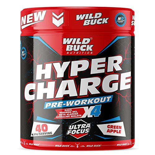 WILD BUCK Hyper Charge Pre-X4 Hardcore Pre-Workout Supplement with Creatine Monohydrate, Arginine AAKG, Beta-Alanine, Explosive Muscle Pump, Caffeinated Punch-For Men & Women [40 Serving, Green Apple]