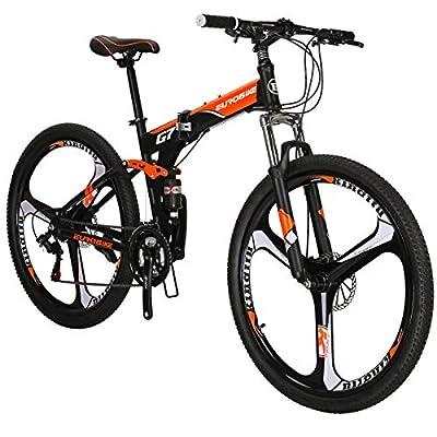 Folding Bike TSM G7 Bicycle 27.5Inch Dual Disc Brake Bike (Orange 3-Spoke)