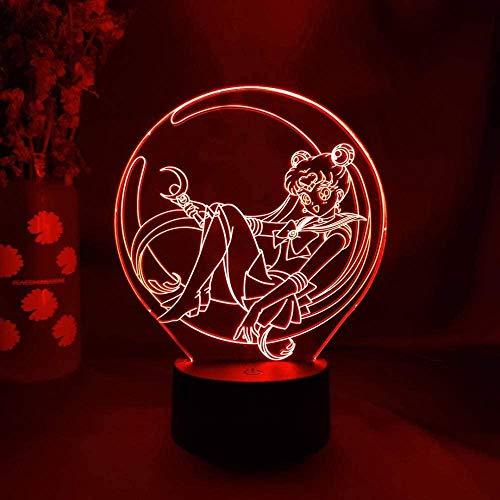 Luz nocturna LED 3D ilusión de luz nocturna Sailor Luna Figura Art Deco Sensor niñas habitación noche oficina lámpara decoración 7 colores cambiantes USB cumpleaños niños vacaciones regalos