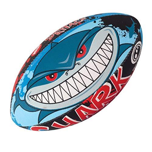 OPTIMUM Ballon de Rugby Shark Attack, SharkAttack, Taille 4 Unisex-Adult, Multicolore-Multicolore, 4