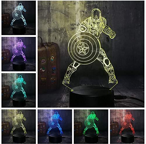 Novedad fresca Marvel Avengers Capitán de EE. UU. Luz nocturna juguetes para niños 3D LED iluminación del hogar lámpara de mesa táctil regalo de Navidad