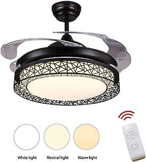 JINWELL Ventilador de techo con iluminación silencioso ventilador de techo Vintage Continental Ventilador de hojas con ventilador creativo Cuarto de estar de estar regulable con luz,Black