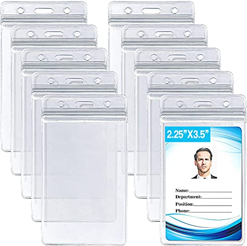 ID Card Name Tag Badge Holder, Waterproof Sealable Clear Plastic Vertical ID Card Holder for Work ID, Key Card, Driver's License, Not for CDC Vaccine Card (Vertical 10 Pack)