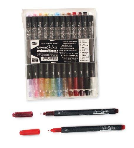 Copic Set B - Juego de rotuladores con brillantina (12 unidades), colores pastel