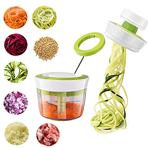HOTERB Spiralizer Hachoir Manuel,4 en 1 Coupe Légumes Spirale Spiraliseur de Légumes pour Courgettes & Concombres,Hachoir a Viande Mini Hachoir pour Oignons,Carottes,échalotes,l ail