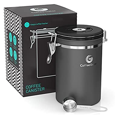 Coffee Gator Stainless Steel Container - Canister with co2 Valve and Scoop - Large, Gray