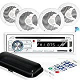"Marine Stereo Receiver Speaker Kit - In-Dash LCD Digital Console Built-in Bluetooth & Microphone 6.5"" Waterproof Speakers (4) w/ MP3/USB/SD/AUX/FM Radio Reader & Remote Control - Pyle PLCDBT85MRW"