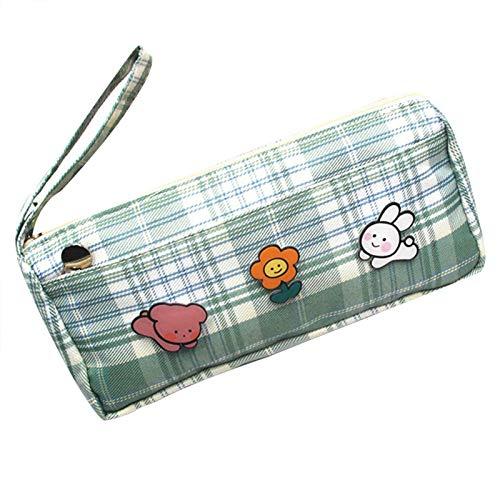 Bolsa para lápices con diseño de dibujos animados, gran capacidad, bolsillos fijos para estudiantes/dibujos animados, a rayas, gran capacidad para estudiantes