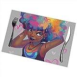 Tovagliette africane di bella donna set di 6 per stuoie lavabili da tavolo da cucina per tavolo da pranzo facili da pulire