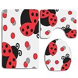 N\A Cute Red Ladybug 3Pcs Set de baño Alfombrilla Contour Mat + Tapa del Inodoro + Alfombrillas de baño