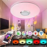 Kaigelu888 Lámpara LED de Techo con Altavoz Bluetooth, 36W Bluetooth Luces Cool Blanco Calido Ajustable RGB Cambio de Colorlámpara Techo para Dormitorio, Sala, Pasillo, Comedor (B-36W)