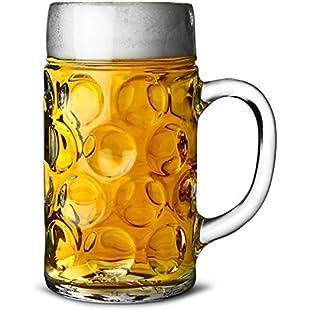 German Beer Stein Glass 2 Pint | Classic Beer Tankards, Beer Mugs, Beer Steins | 2 Pint Glass Beer Tankards