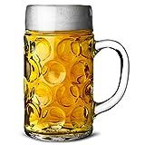 6x German Beer Stein Glass 2 Pint | Classic Beer Tankards, Beer Mugs, Oktoberfest