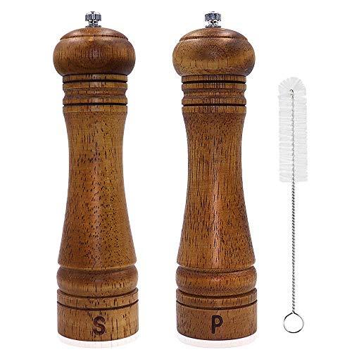 Macinapepe Macinasale Manuale Macina Sale e Pepe Macinaspezie in Legno con Smerigliatrice Ceramica Regolabile Forte Spazzola per La Pulizia, 8 Pollici (2 Pezzi)