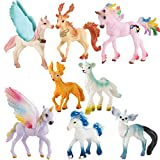 8PCS Unicorn Toy Figurine Set Unicorn Action Figures Cake Toppers for Birthday Party Decoration Figurines Playset Toys for Kids DIY Home Garden Decoration