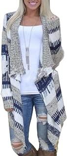 Women Geometric Print Knit Cape Cloak Sweater Cardigan Coat