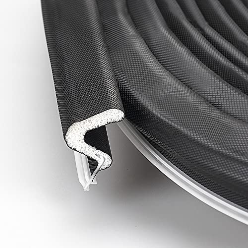 """Weather Stripping Seal Strip for Doors/Windows """"Q"""" Foam 26 Feet Long , Card Slot Installation Seals Large Gap, Easy Cut to Size (Black)"""