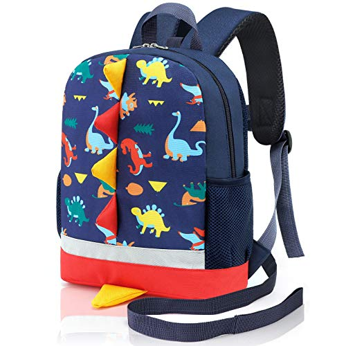 Mtophs Toddler Backpack with Reins Boys Dinosaur Nursery Backpack Dark Blue