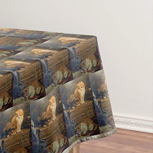 Mantel vintage de Van den Eycken con tres gatos en un escritorio, a prueba de aceite, a prueba de derrames, cubierta de mesa limpia para mesa de comedor de 144,8 x 228,6 cm