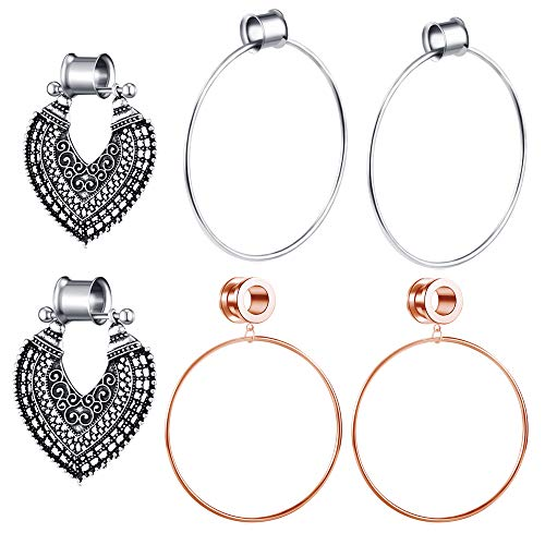 TIANCI FBYJS 3 Pairs Surgical Steel Ear Tunnels Rose Gold Large Hoop Ear Plugs Expander Dangle Gauges Stretcher Piercing (12mm=1/2'')