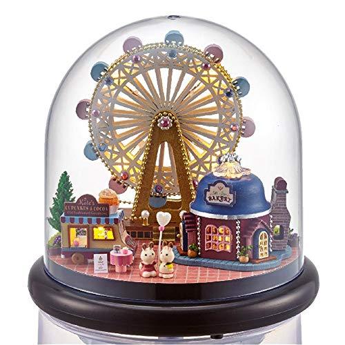 Caja de MúSica Casa Muñecas DIY, Kit de Caja de Música Casa Bricolaje en Miniatura Con Luz LED de Cubierta Transparente, Gran Regalo para Parientes Amantes en Halloween, Navidad(Rueda de la fortuna)