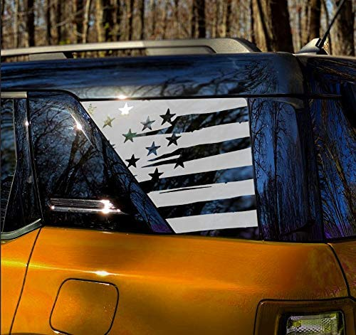 3rd Window USA flag decal sticker that fits 2021 Ford Bronco Sport models - exterior graphics accessory - V2