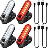 4 Pieces USB Rechargeable LED Bicycle Light Rear and Front Bike Light Waterproof Bike Headlight and...