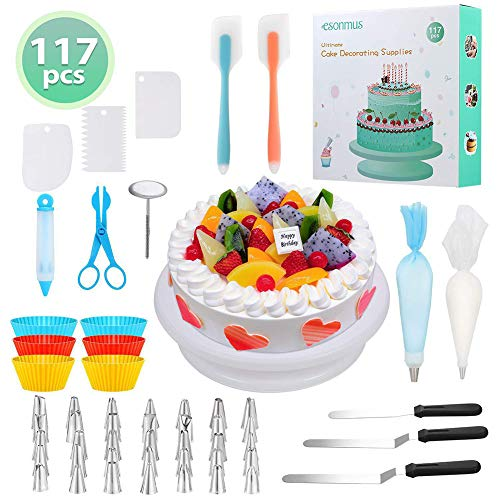 ALY 117PCS Cake Decorating Supplies Kit, Baking Supplies Set with 35 Icing Piping Tips and 1 Rotating Turntable Stand Frosting 50 Disposable Piping Bags Best